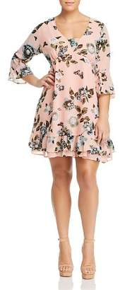 Junarose Plus Amara Floral-Print Ruffle Dress