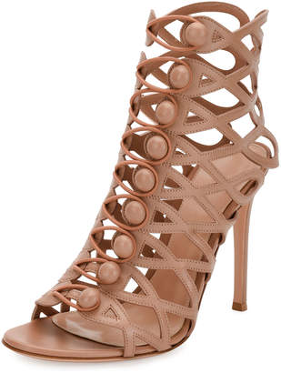 Gianvito Rossi Looped-Button Cage Booties, Neutral