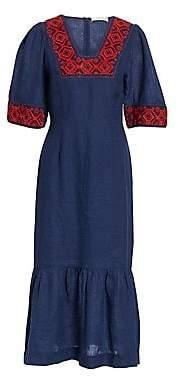 Sea Women's Leah Embroidered Midi Dress
