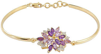 FINE JEWELRY Genuine Amethyst & Lab-Created White Sapphire Flower Bangle Bracelet in 14K Gold over Silver