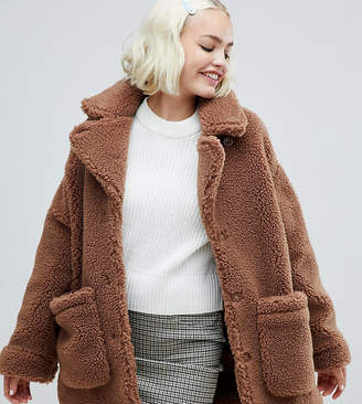 Monki oversized teddy jacket in brown