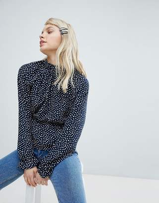 Monki High Neck Polka Dot Blouse