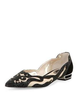 Rene Caovilla Crystal-Embellished Curvy Suede Flat, Black/Jet