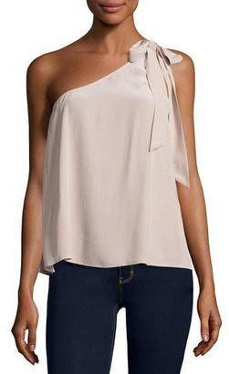 Joie Romana One-Shoulder Silk Blouse, Dusty Mink $178 thestylecure.com