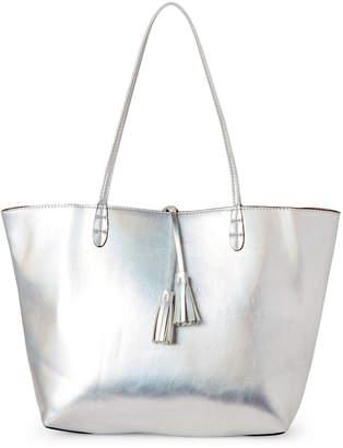 Street Level Silver & Dusty Rose Tasseled Bag-In-Bag Reversible Tote