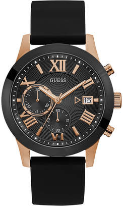 GUESS Men Black Silicone Strap Watch 45mm