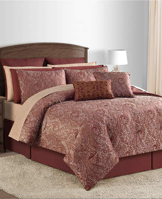 Sunham Closeout! Malia 20-Pc. Burgundy Queen Comforter Set Bedding