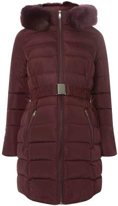 Dorothy Perkins Womens **Maternity Burgundy Luxe Padded Coat