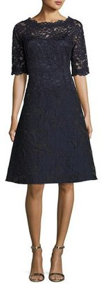 Rickie Freeman for Teri Jon 3/4-Sleeve Lace Fit-&-Flare Cocktail Dress, Navy $695 thestylecure.com