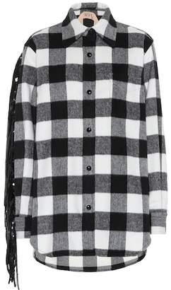 N°21 Fringed wool-blend shirt