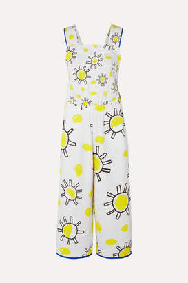 Mira Mikati Printed Cotton And Linen-blend Jumpsuit - White