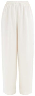 eskandar Wide Leg Silk Crepe De Chine Trousers - Womens - White