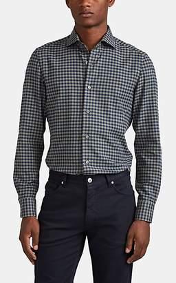 Boglioli Men's Gingham Cotton Flannel Shirt - Olive Pat.
