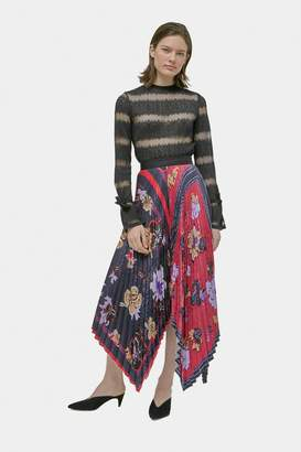 Yigal Azrouel Floral Pleated Handkerchief Skirt