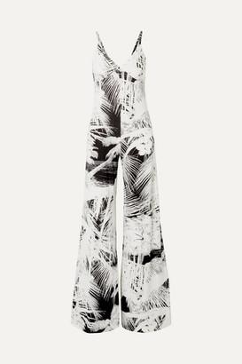 Norma Kamali Printed Stretch-jersey Jumpsuit - Black