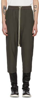 Rick Owens Grey Drawstring Cropped Trousers