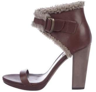 Brunello Cucinelli Shearling Ankle Strap Sandals