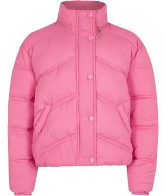 River Island Girls pink funnel neck puffer jacket