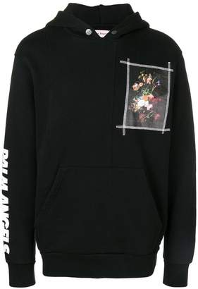 Palm Angels floral print patch hoodie