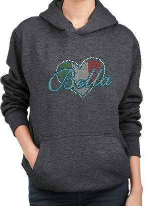 BLING BLING COUNTRY BELLA ITALIAN FLAG HEART Rhinestone Design Hoodie Sweatshirt