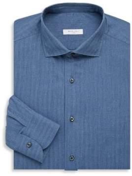 Boglioli Men's Regular-Fit Striped Cotton Dress Shirt - Dark Blue - Size 40 (15.75)