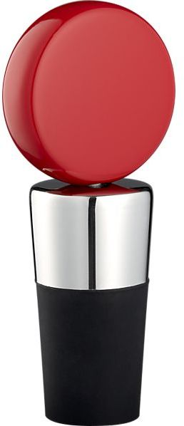 Crate & Barrel Circ Red Bottle Stopper