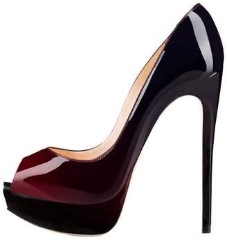 JOOGO Women Peep Toe Pumps Platform Thin Heel Stiletto Sandals Wedding High Heels Slip On Dress Shoes Size 6