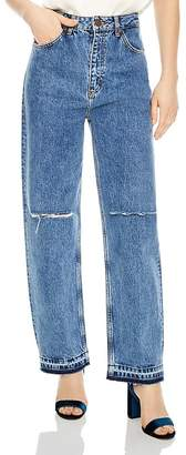 Sandro Fluffy Distressed Wide-Leg Jeans