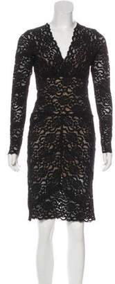Nicole Miller Lace Knit Long Sleeve Dress
