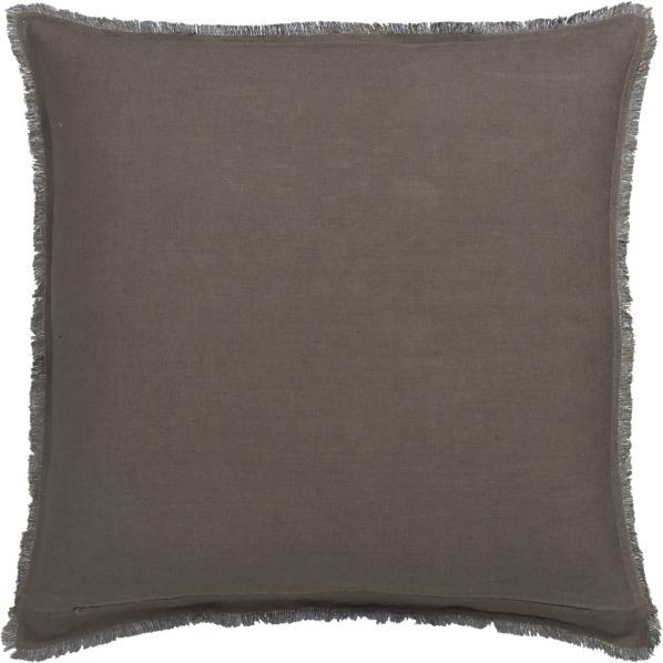 Crate & Barrel Eyelash Taupe and Blue Pillow with Feather-Down Insert.