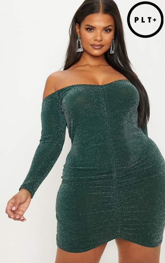 Plus Emerald Green Glitter Lurex Ruched Bardot Bodycon Dress