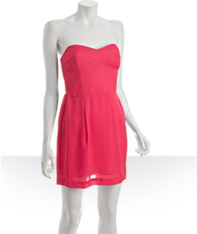 BCBGeneration raspberry bustier strapless dress