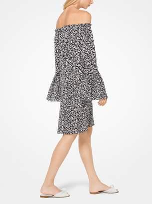 Michael Kors Floral Silk-Georgette Off-the-Shoulder Dress