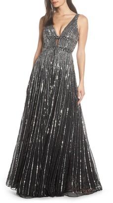 Mac Duggal Deep V-Neck Sequin Stripe Gown