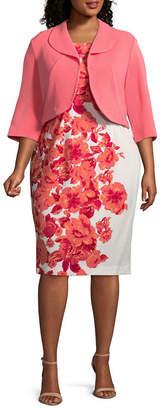 MAYA BROOKE Maya Brooke Sleeveless Jacket Mid Length Dress - Plus