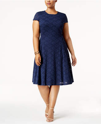 Alfani Plus Size Lace Fit & Flare Dress, Created for Macy's