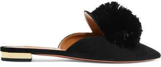 Aquazzura Powder Puff Pompom-embellished Suede Slippers - Black