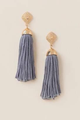 francesca's Kyla Tassel Earrings - Gray