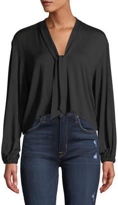 Rachel Pally Amelie V-Neck Sash Tie Long-Sleeve Cropped Jersey Top
