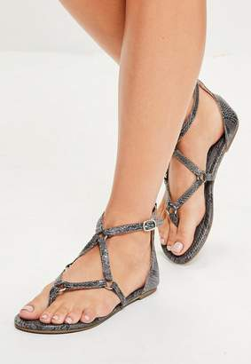 Missguided Grey Snake Strap Flat Sandals
