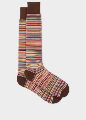 Paul Smith Men's Brown Signature Stripe Long Socks