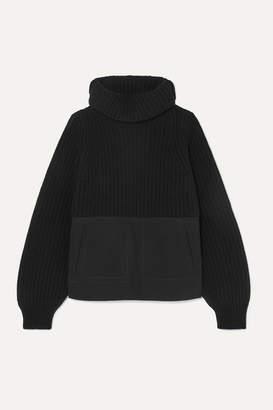 Haider Ackermann Denim-paneled Ribbed Wool Turtleneck Sweater - Black