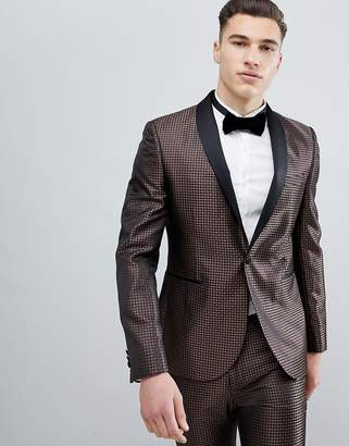 Next Skinny Fit Geometric Suit Jacket In Bronze