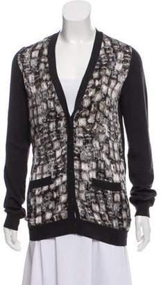 Lanvin Silk-Accented Wool Cardigan Grey Silk-Accented Wool Cardigan