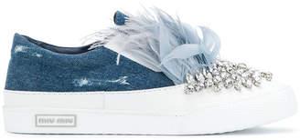 Miu Miu feather and crystal-embellished denim sneakers