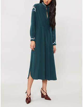 Vilshenko Frieda floral-embroidered silk-crepe midi dress