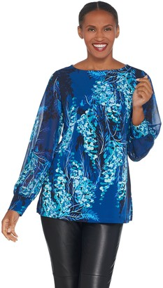 Susan Graver Printed Liquid Knit Tunic with Chiffon Sleeves