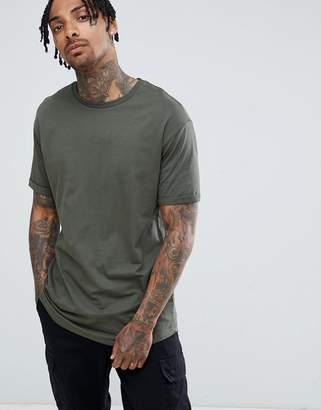 Bershka Longline T-Shirt In Khaki