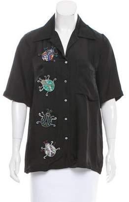 Cinq à Sept Embellished Button Up Top