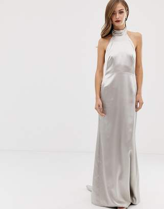 Asos Edition EDITION halter maxi dress with fishtail